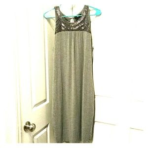 Gray Dress w/Silver Beaded Accents